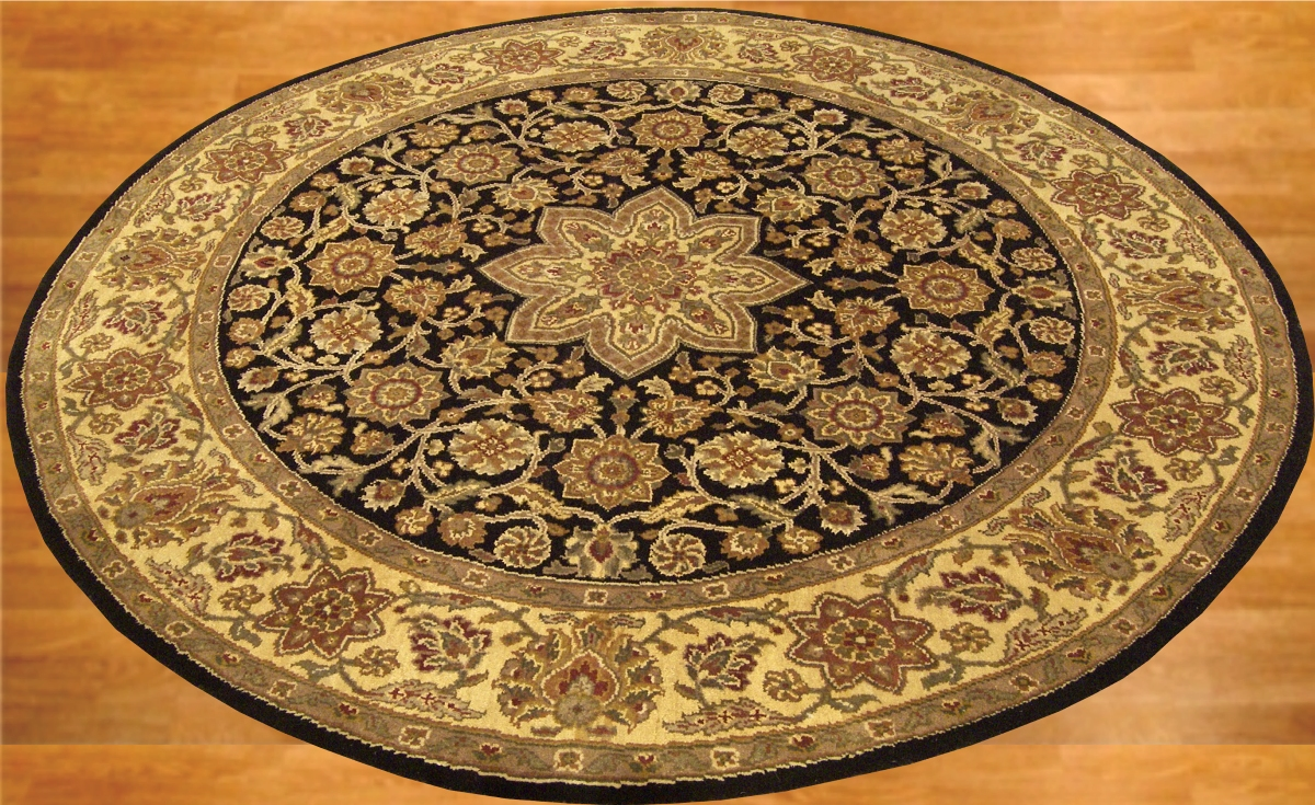 6x6 beautiful handmade round carpet agra wool rug 1325 ebay for Round carpets and rugs
